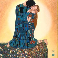 handpainted  high quality gustav klimt painting reproduction on canvas the  Kiss for home decoration wall art