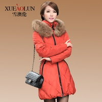 Winter large fur collar with a hood slim down coat medium-long women's 2013 thickening outerwear