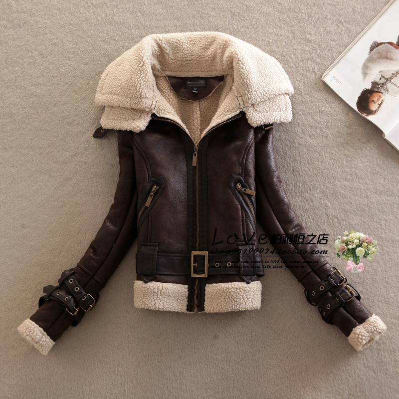Женщины в хлопок - мягкий куртка верхняя одежда берберский флис мех цельный приталенный утолщение мотоцикл кожа одежда Y22