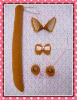 Ear cos yellow plush fox ear bow tie hand ring