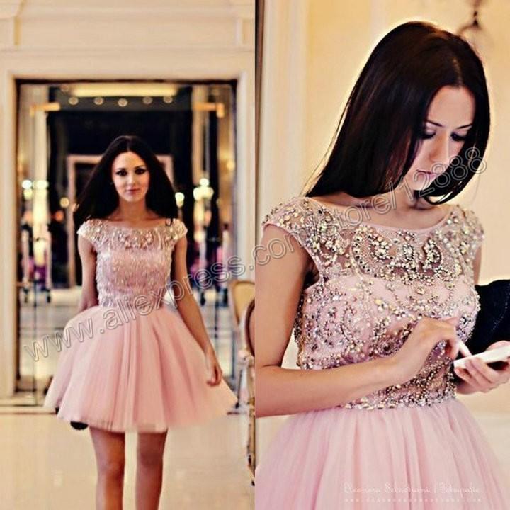 короткие розовые летние платья