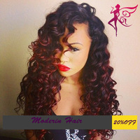 10-24 inch #1B/#99J 120% density virgin Brazilian hair curly glueless full lace wigs two tone red lace wigs for black women
