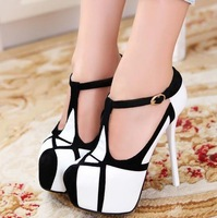 fashion high-heeled shoes sexy platform 14cm banquet hasp single shoes thin heels