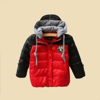 Free shipping new 2013 autumn winter children's clothing shiny candy color down parkas coat thermal baby outerwear