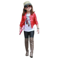 2014 girl leather jacket spring and autumn children outerwear jacket kids girls  Red Black Height 110-150CM Free shiping