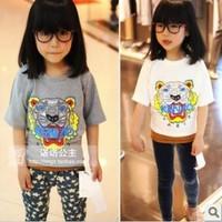 5pcs kid's t-shirt 2014 summer clothes girl's clothing children's tee tops t shirt tiger pattern tshirts free shipping