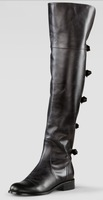 free hk post~ F452 40/41/42 GENUINE LEATHER BOW BACK THIGH HIGH BOOTS