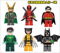 Super Heroes Avengers Batman Wolverine Loki Robin Deadpool Green Lanternp lastic Building Block Sets ninja toy ninjago Chima toy