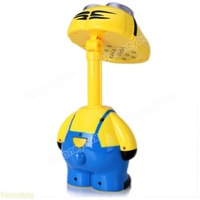 Despicable Me Folding Head LED Desk Lamp 16 LED Smiling Cartoon Minions Portable Energy-saving Modern Table Lamp Student Lamp