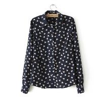 New  Women Fashion Chicken Printing Turn Down Collar Shirts Ladies Casual Blouse,SW7107-H03