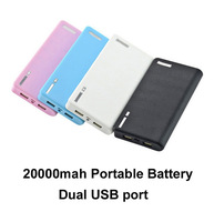 20000mah Wallet Style External Portable battery Charger Dual USB Power Bank for Apple iPhone iPad HTC Samsung Nokia Phone tablet