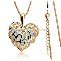 2014 gifts! Free shipping high quality fashion 18k gold plated hollow out heart jewelry necklace zircon stone sweater chain