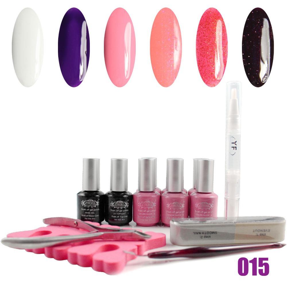 color UV gel +base gel +top coat + Manicure Tools Kit nail art kit