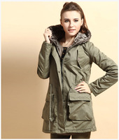 Fashion women's overcoat army green long section thick hooded coat jacket 46