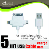 micro usb cable 3 in 1 Cable (30pin 8pin micro5P) For samsung LG HTC ipadipodiphone