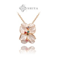 ROXI Christmas gift fashion genuine Austrian crystal flowers necklace rose gold plated 100%hand made jewelry,2030022360