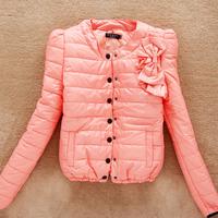 Korean women's slim puff sleeve padded coat sweet bow outerwear cotton jacket 41