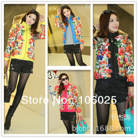 2013 new fation winter women thickening mandarin flower printed wadded out wear jacket
