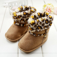 shoes for girl's baby boots fashion leopard print cotton boots winter wear prewalker anti-skidding Free & Drop shipping LKM163