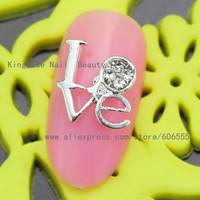 rh717 Valentine's Day new arrival 3d nail charms nail art decoration 30pcs/lot wholesale love metal nailart sticker freeshipping