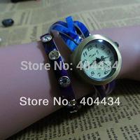 Wholesale - cheap casual watch 7 colors new 2013 fashion women Punk Style Twine Knit watch 2000pcs