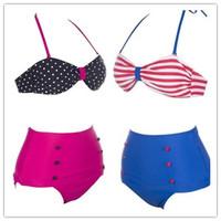 DYYY-0337 RETRO Swimsuits Suits Swimwear Vintage Bandeau HIGH WAISTED Bikini Set S M L XL