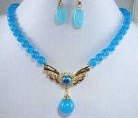 Beautiful blue jade necklace pendant earrings woman