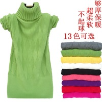 Gentlewomen young girl turtleneck slim thermal short design thick basic sweater pullover sweater ball