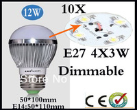 Wholesale 10pcs/lot Cree led lamp E27 9W 12W 15W 85-265V LED Bubble Ball Bulb LED Globe Light Free Shipping home garden