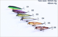 Free shippng New arrivel Stick Minnow Sinking Hard Plastic Fishing Lure Crazy In Australia 42mm 2g And 48mm 4g On sale Baby Fish