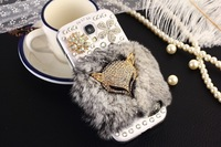 S4 Gray Fox Rabbit Rhinestone Bling Crystal Case For Samsung Galaxy S4,S3, Fur Furry 3D Cover I9500 I9300 Free Shipping