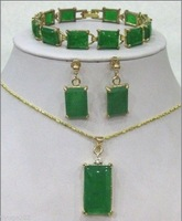 High quality square Green Jade bracelet /earrings /Necklace Pendant Set