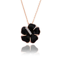 New Arrival Best gift ,wholesales,High Quality Real Gold Plated Flower Pendant Necklace with Rhinestone Necklace,free shipping