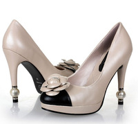 New arrival free shipping womens brand real leather black beige color high heel Camellia flower dressheel pumps leather l shoe