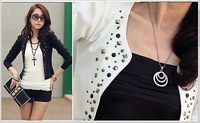 2014 New autumn -summer  Korea Rivet Short Women Coat Suit Jacket Long Sleeve Slim Blazer Outerwear