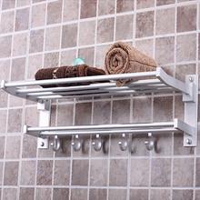 Foldable Alumimum Towel Bar Set Rack Tower Holder Hanger Bathroom Hotel Shelf Free Shipping(China (Mainland))