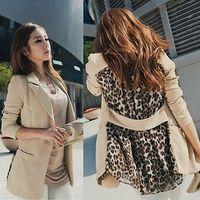 Women Slim Blazer 2015 new autumn summer Fashion Womens OL Casual Chiffon Suit Blazer Leopard Lapel Outwear Coat Jacket