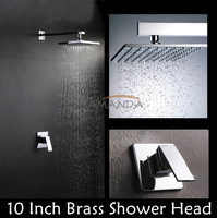 2014 Promotion Top Fasion Free Shipping Bathroom Products In Bath Faucet Mixer Rainfall Shower Set with 10 Inch(25cm) Solid Head