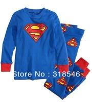 FREE SHIPPING 6sets/ lot  boy pajamas set children superman pajamas set  kids long sleeve pajamas /sleepwear suit t-shirt+pant