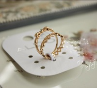 2013 New Fashion Design Rhinestone Hollow King and bowknot gold two pieces women ring set Free shipping Min.order $10 mix order