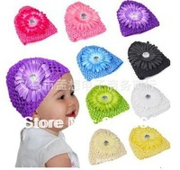free shipping( 10pcs/lot)  baby hat with big flower  20 colors  for your choose  fashion  cute hotsale baby hat