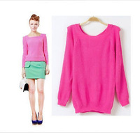 Women Lady's Long Sleeve Fashion Knitting Loose Sweater Rose B