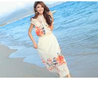 Summer Girls' Breach Print Dress fashion Slim dress high quality woman's Chiffon Sweet long dress for holiday parties