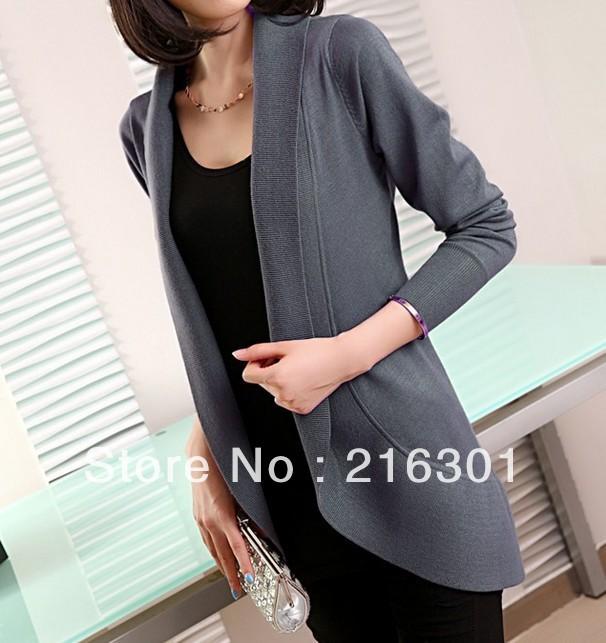 2013 Hitz large size women jacket Slim long sweater cardigan European stations(China (Mainland))