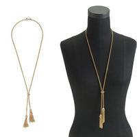 2014 Women Fashion Necklace Gold Plated Zinc Alloy Long Necklace Vintage Rhinestone Pendant Necklace Boho Necklace Free Shipping