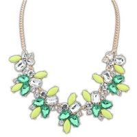 Top Fashion Women New Design Golden Chain Green Resin&Acrylic Collar Cool Necklace Jewelry Wholesale Free Shipping#101524