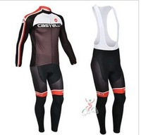 Best Selling 2013 castelli  team  Long Sleeve Autumn Spring,Cycling Jersey+BIB Pant Set Wear Bicycle Clothes