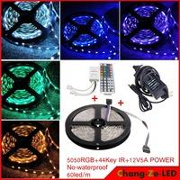 Epistar SMD5050 chip, 12v DC 72w No-waterproof RGB 5050 led strip light 60led/m 5m 300led  + 44 key IR Remote + 12v 5a power