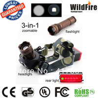 Top quality  multifunction CREE Q5 R2 5W 500Lm Rechargeable Zoomable LED Flashlight with headlamp and rear light 200m