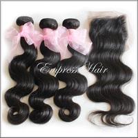 Brazilian Virgin Hair 4pcs Lot Middle Part Lace Closure With 3pcs Hair Bundles Unprocessed Human Virgin Hair Extension Body Wave